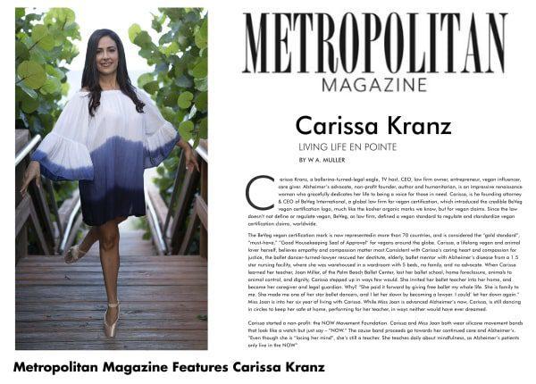 Carissa Kranz featured in Metropolitan Magazine